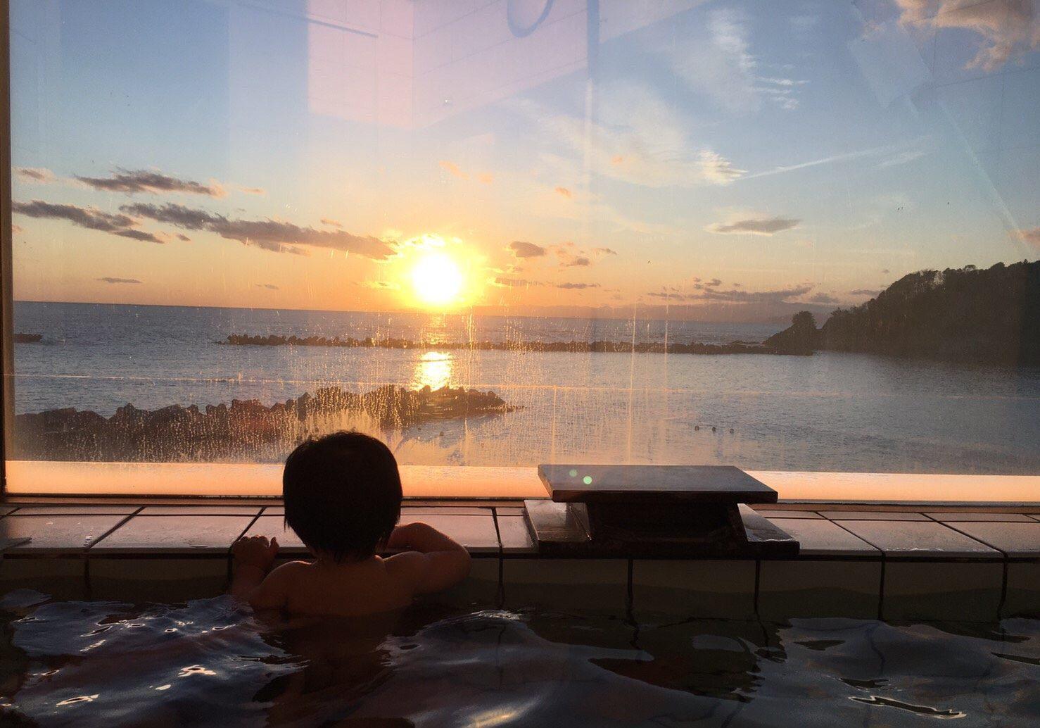 展望風呂からの夕日